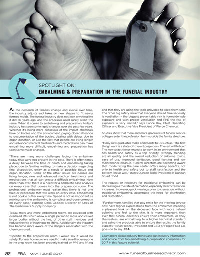 Embalming and Prep in the Funeral Industry
